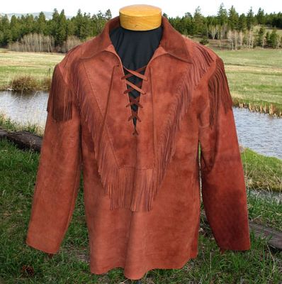 Hondo Brown Deerskin Leather Lace Up Pullover Shirt